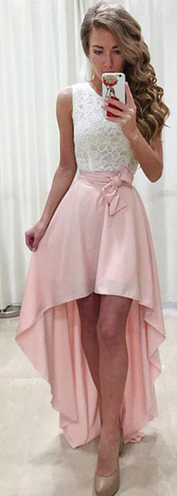 Distinctive lace u chiffon jewel neckline hilo aline prom dress