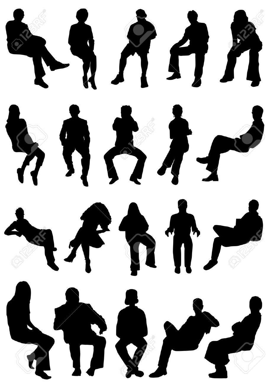 collezione di seduta vettoriale di persone | Silhouettes ...