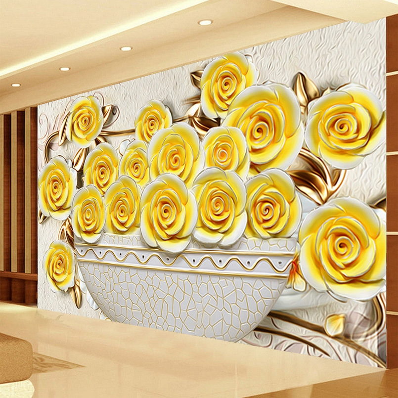 12.68$  Watch here - http://aliupm.shopchina.info/go.php?t=32762487605 - Custom 3D Wallpaper Living Room Sofa TV Background Large Wall Painting Stereo Relief Rose Flower Mural Wallpaper For Walls 3 D 12.68$ #aliexpress