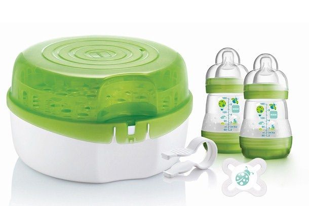 New Mam Baby Infant Newborn Reusable Micro Microwave Steam Bottle Steriliser Quick Safe Sterilisation Sterilises Up To 6 Bottles In 5 Minutes