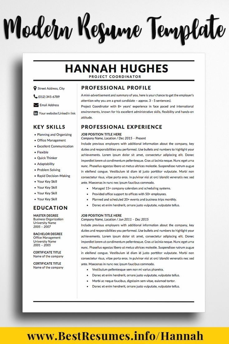 Modern Resume Template Hannah Hughes - Teacher resume template, Job resume template, Resume writing services, Resume template, Resume skills, Best resume template - Modern Resume Template Hannah Hughes  Downloadable modern resume template! Stand out with your resume & land the job! Check more resume examples here