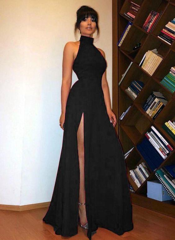 High Neck Black Long Prom Dress Sexy High Split Wo