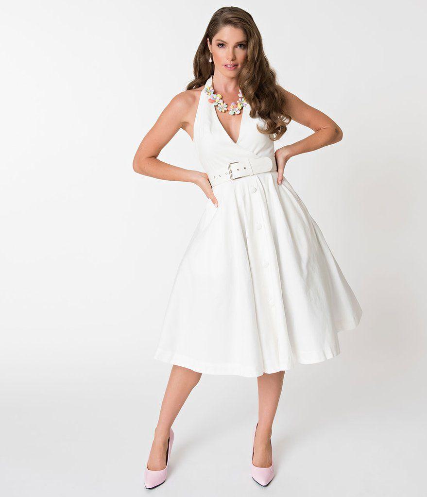 Janie Bryant For Unique Vintage 1950s White Halter Tarrytown Hostess Dress Hostess Dresses White Halter Dress Vintage Fashion 1950s [ 1023 x 879 Pixel ]