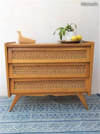 commode rotin vintage annees 50