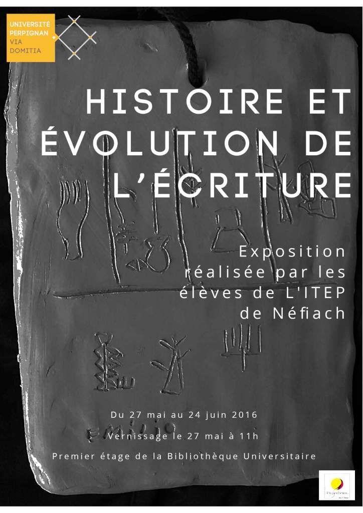 Exposition sur l'histoire et l'évolution de l'écriture réalisée par les enfants de l'ITEP de Nefiach