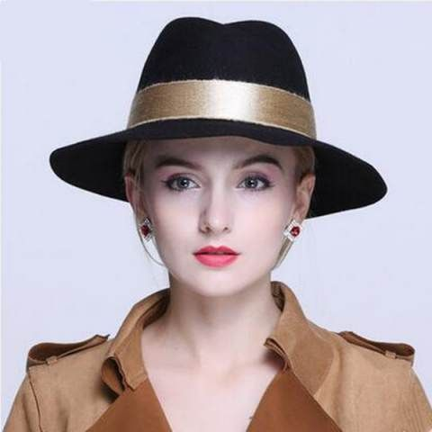 Fashion black wool fedora hat with ribbon hat band for women winter felt  trilby hats de16b6a4d17