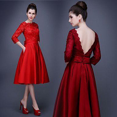 Cocktail Party Dress - Plus Size A-line Bateau Knee-length Satin 2016 - $139.99