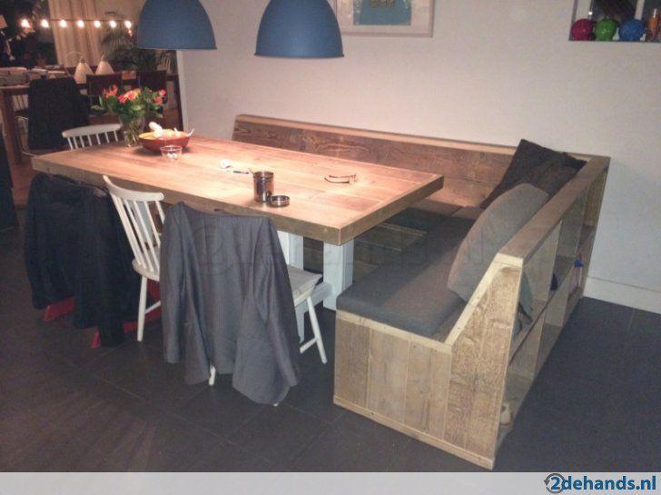 Oostenrijkse eethoek in steigerhout   Eettafel kleine woonkamer   Pinterest   Eethoek, Hoekbank