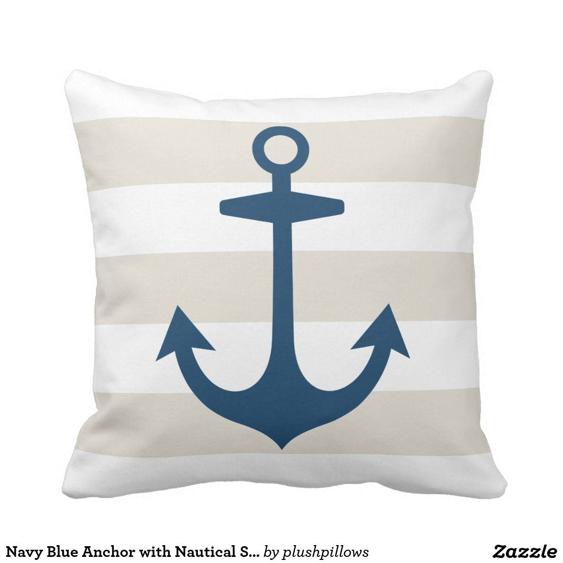 navy blue anchor with nautical stripes pillow decorative navy