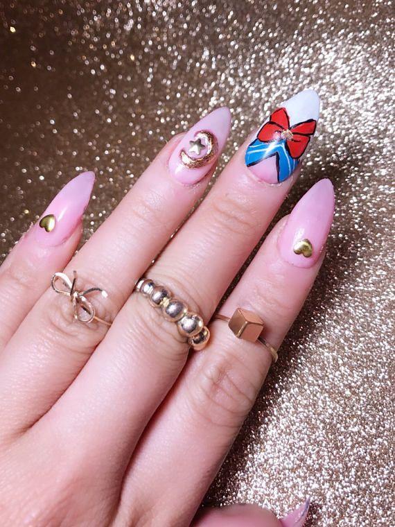 Sailor Moon Cute Kawaii anime Nails |Press on nails|Stiletto Nails ...