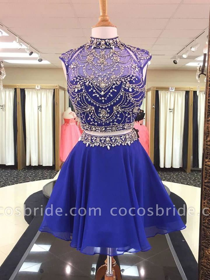 Photo of Illusion Two-Pieces High Neck Beading Homecoming Dress