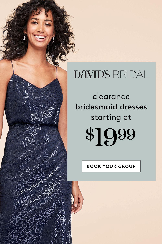 At David's Bridal, clearance maids dresses start at just