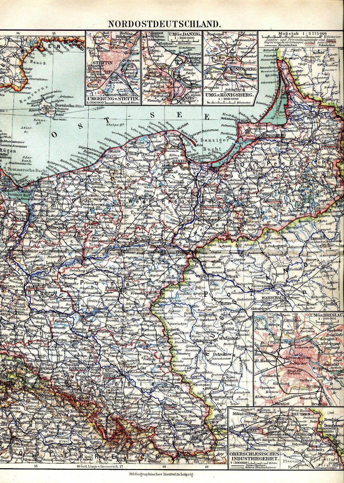 Ca 1890 Northern Germany Prussia Poland Stettin Danzig Konigsberg