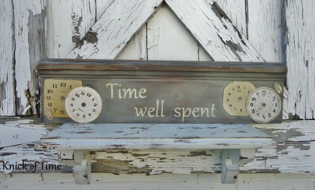 Repurposed Vintage Clock Faces into a Sign  ~~~via Knick of Time  http://knickoftimeinteriors.blogspot.com/