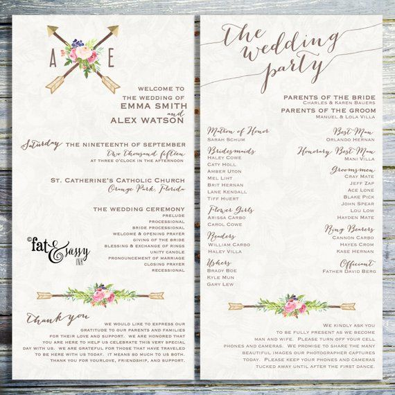 Wedding Program Custom Wedding Program Printable Order Of Ceremony