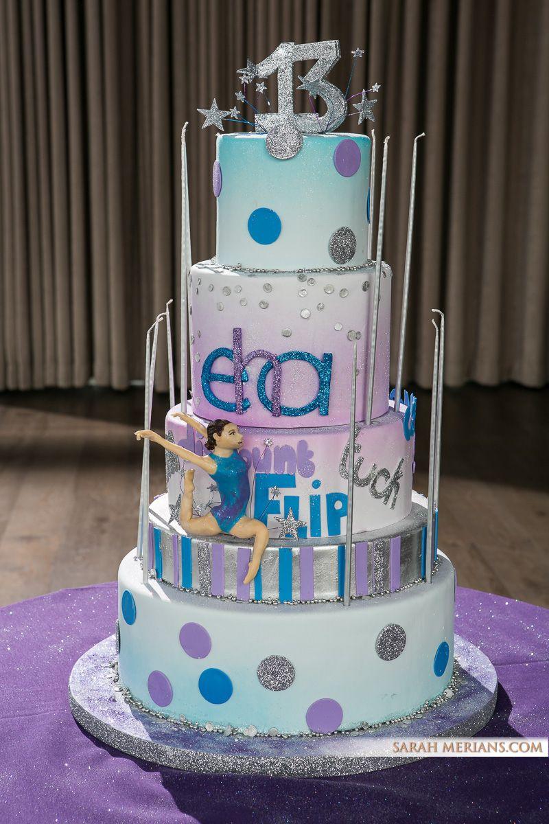 Blue And Purple Gymnastics Themed Bat Mitzvah Cake Cakes Sydney