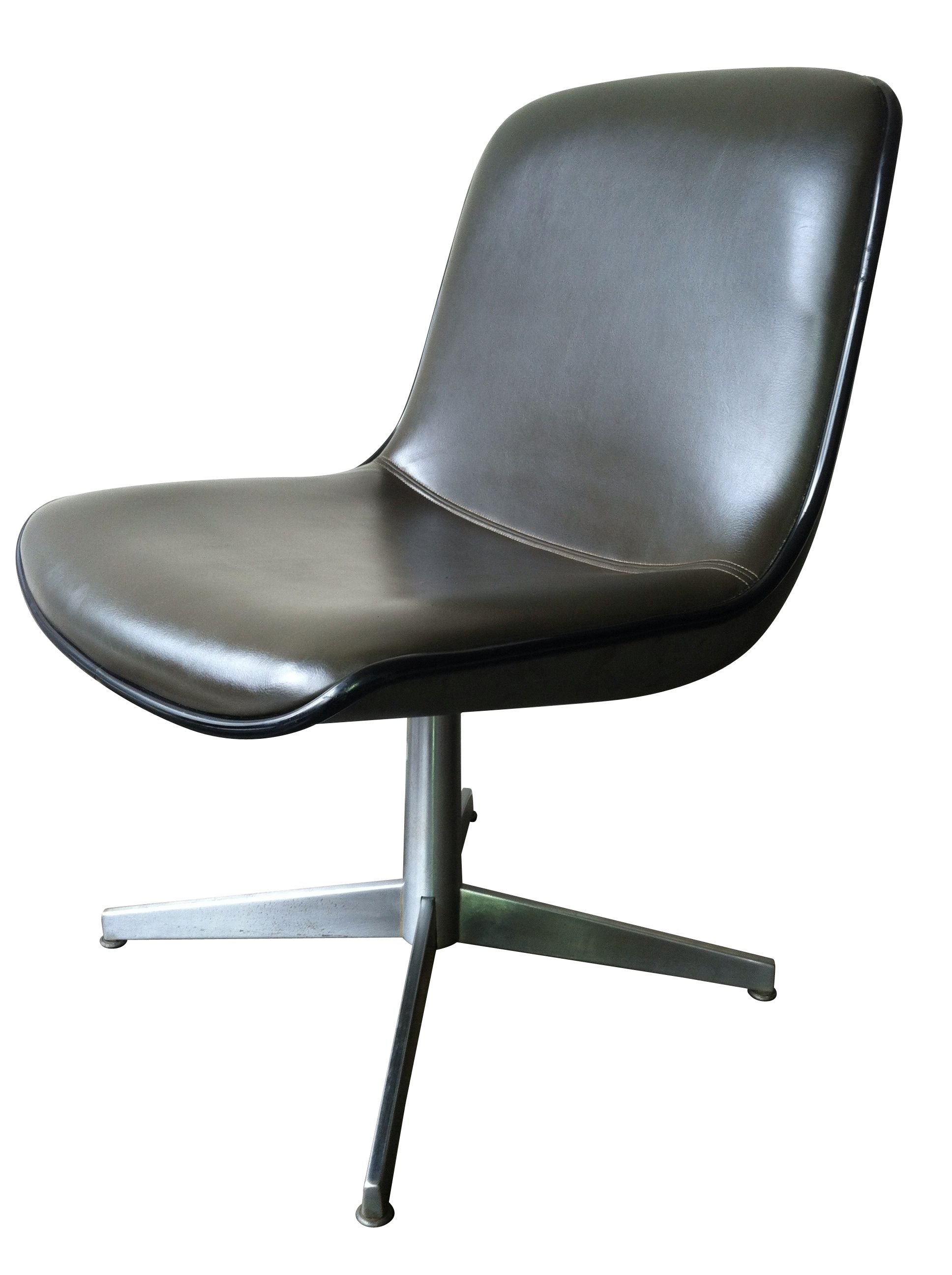Vintage Mod Leather Pedestal Chair   Omero Home