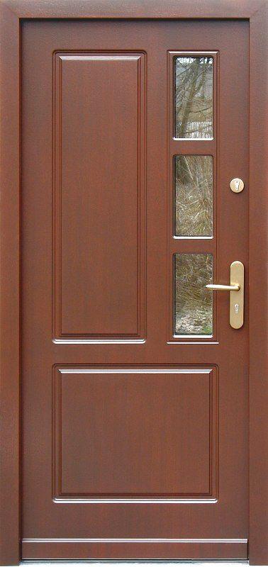 Drzwi zewnętrzne drewniane model 591S3 orzech ciemny
