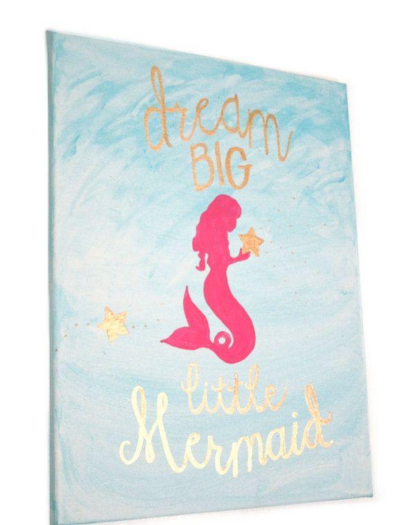 Dream Big Little Mermaid, Girl Nursery Art, Mermaid -7866