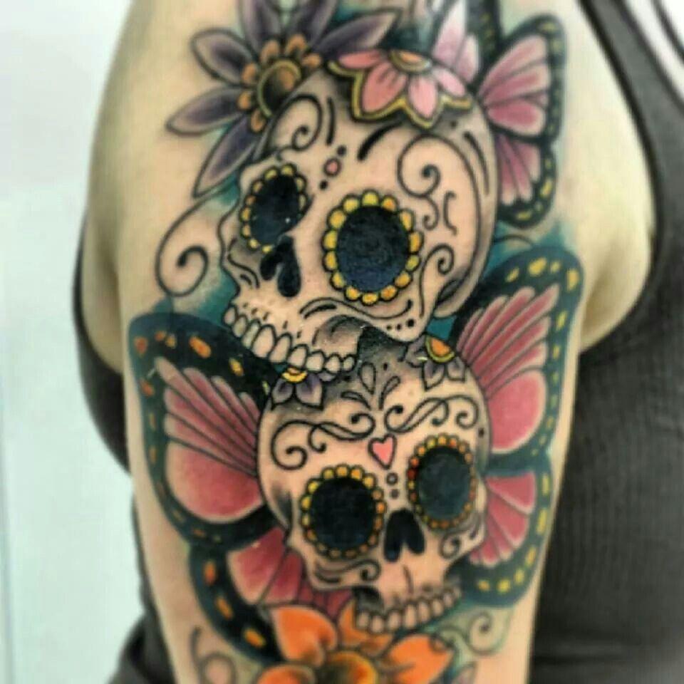 sugar skull butterfly tattoo tattoos pinterest skull butterfly rh pinterest co uk skull head butterfly tattoos skull flower butterfly tattoo