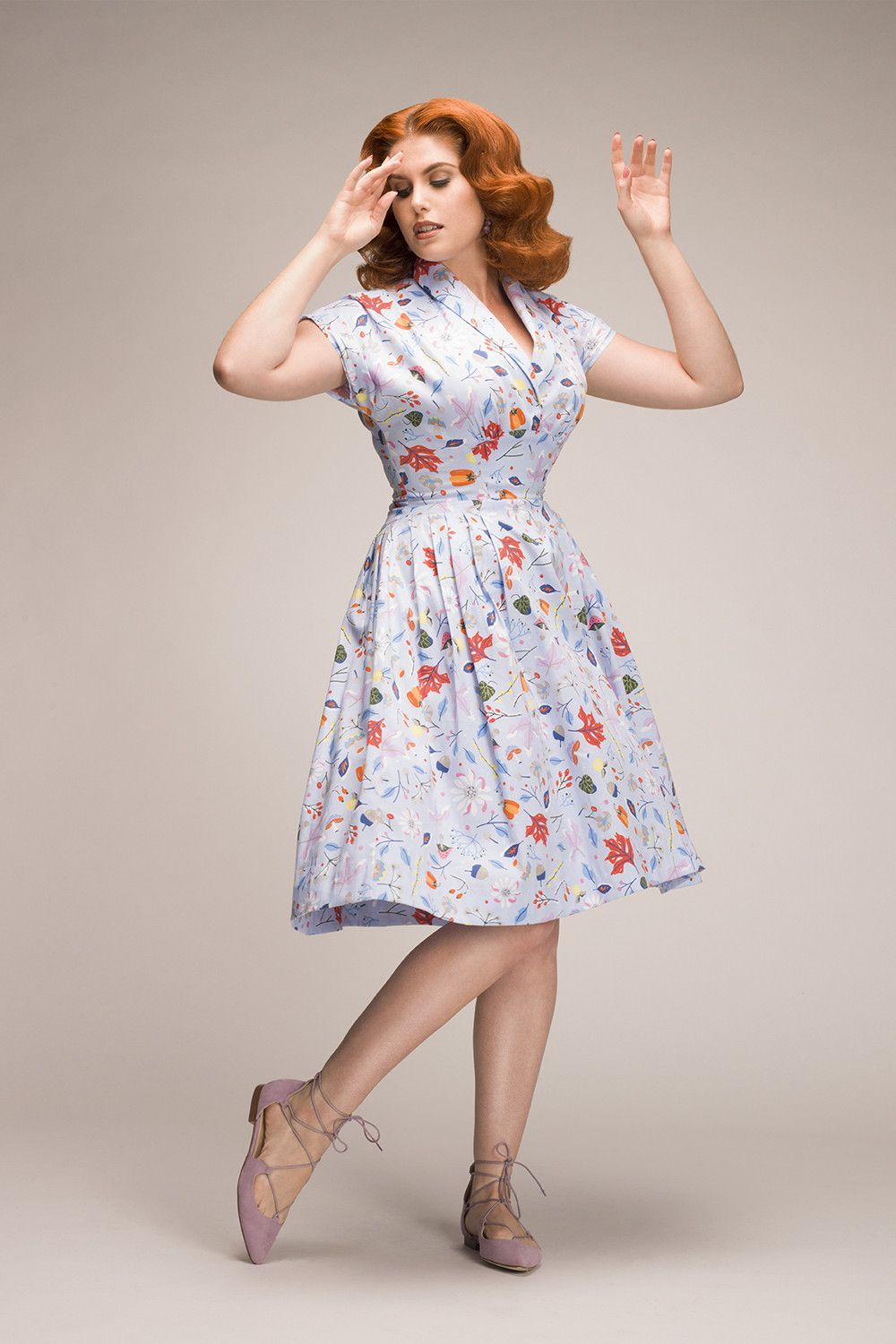 aed3c2c235b Nadia Dress in Ice Blue First Frost Print by DAPPER DAY - New ...