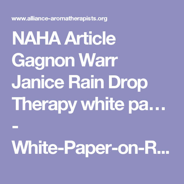 Naha Article Gagnon Warr Janice Rain Drop Therapy White Pa