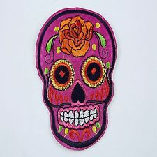 1pcs Embroidered Cloth Iron On Patch Sew Motif Applique skull F11