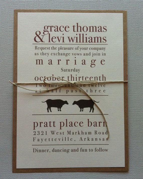 Rustic Cow Wedding Invitations. $2.00, via Etsy. I like a variation of this.