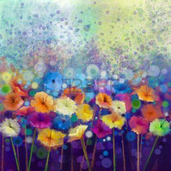 Fleur Peinture Resume Peinture Florale D Aquarelle Paint Hand