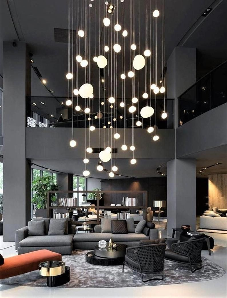 Start Using These Interior Desing Tips To Brighten Up Your Home And Give It New Life H In 2020 Modern Houses Interior Staircase Chandelier Interior Design Living Room