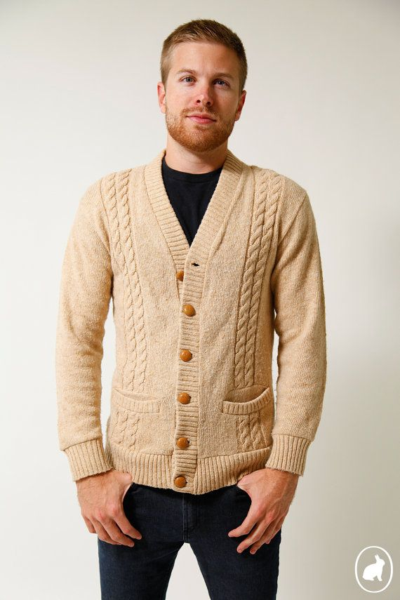 70s Tan Cable Knit Cardigan Sweater Mens Fall Fashion Jacket Size ...
