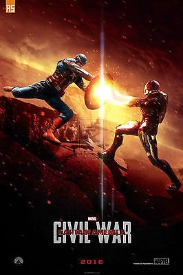 A3/a4 size - captain america vs iron man #civil war #movie  art film #poster # 21,  View more on the LINK: http://www.zeppy.io/product/gb/2/162012054571/