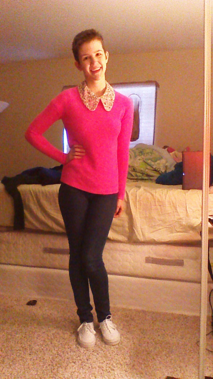 Daily Outfit! Today I am wearing a hot pink sweater over a ...