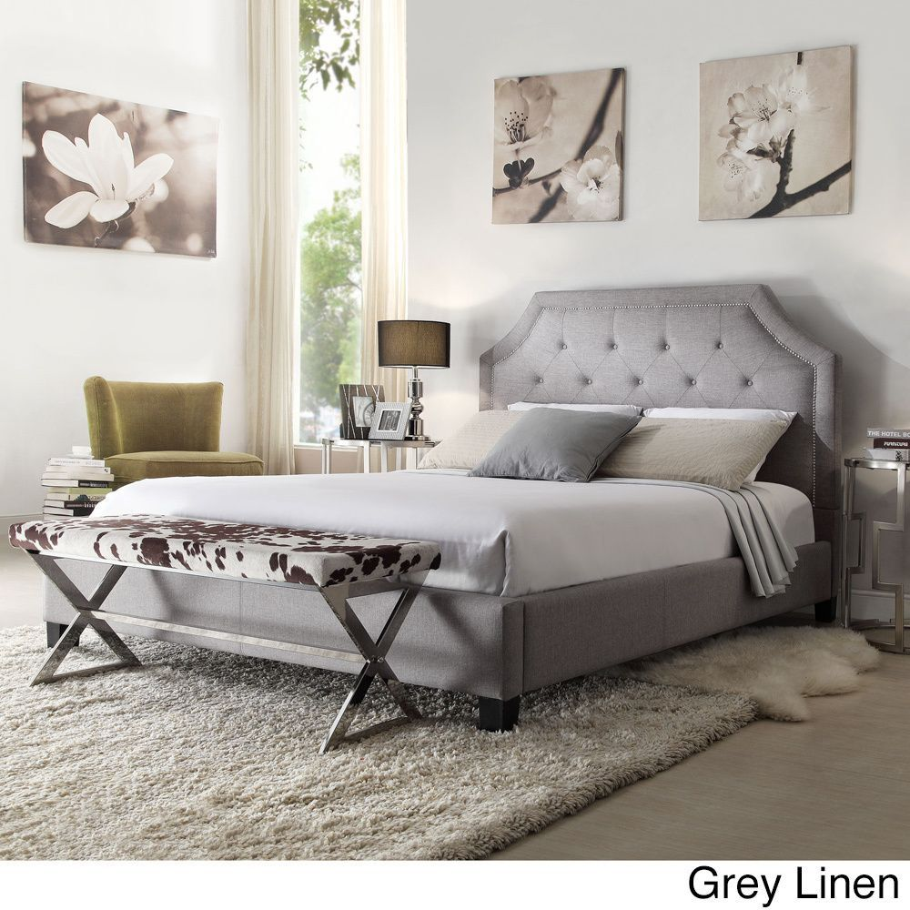 Inspire Q Grace Button Tufted Arched Bridge Upholstered Queen Bed (Platform  Bed- Grey Linen