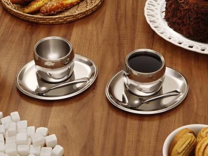 Jogo Para Cafe Em Inox 6 Pecas Tramontina 64430 720 Conjunto De Cafe Tramontina Conjunto De Xicaras