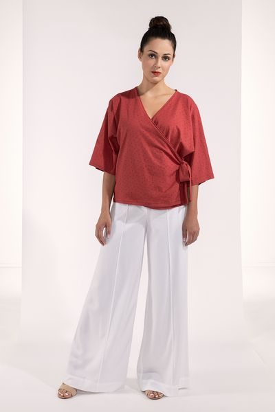 SinWeaver alternative fashion Bluse Wickeloptik Mit Schleife Koralle/rot