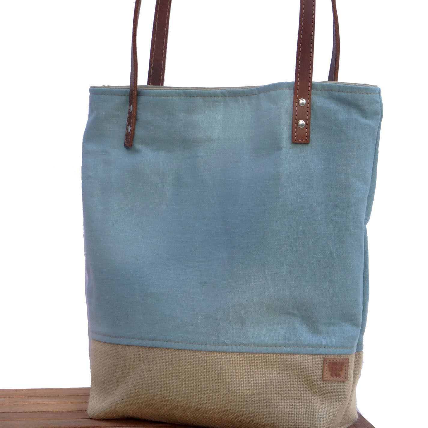 Blue Linen and Burlap Tote Bag | Brown leather, Burlap and Light blue
