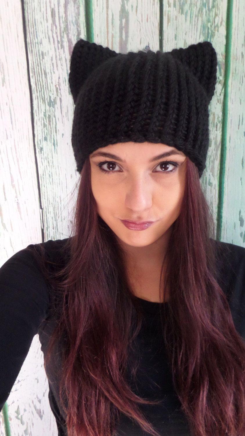 Knitted Black Cat Hat, Kitty Hat, Womens Gift, Gift For Her, Costume ...