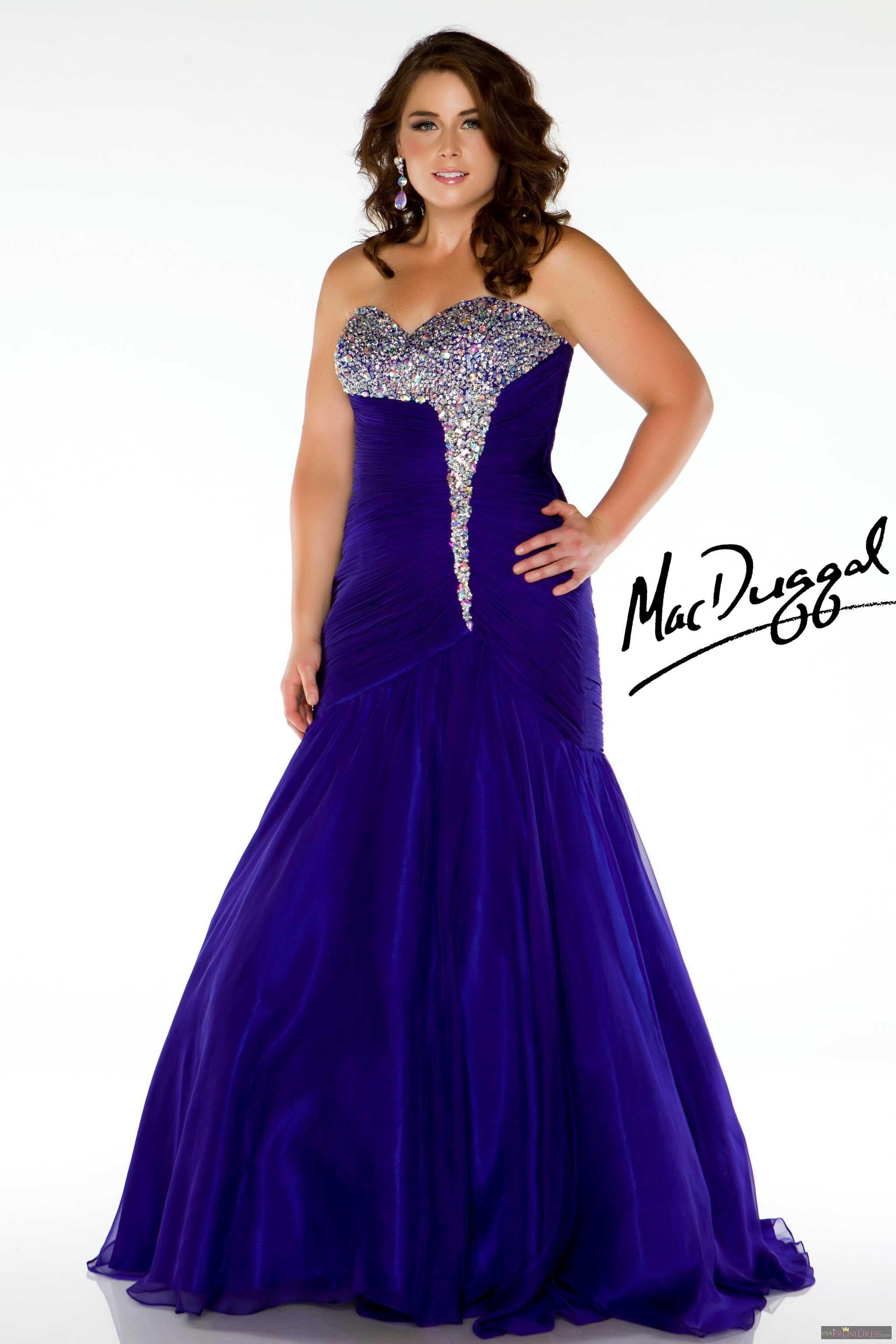 Mac Duggal Style 64473F - Strapless plus size mermaid prom dress ...
