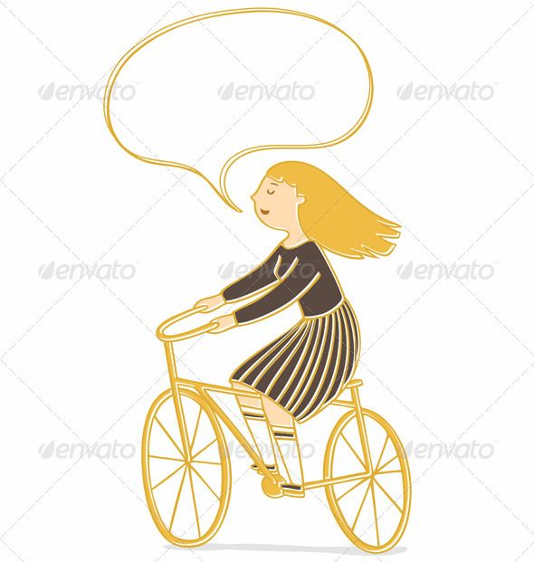 Girl on a Bicycle ...  activity, bicycle, bike, blond, characters, child, cycling, design, exercise, female, fun, girl, golden, illustration, joy, laughing, leisure, outdoors, riding, school, schoolgirl, speech bubble, sport, teenage, vector, women, young