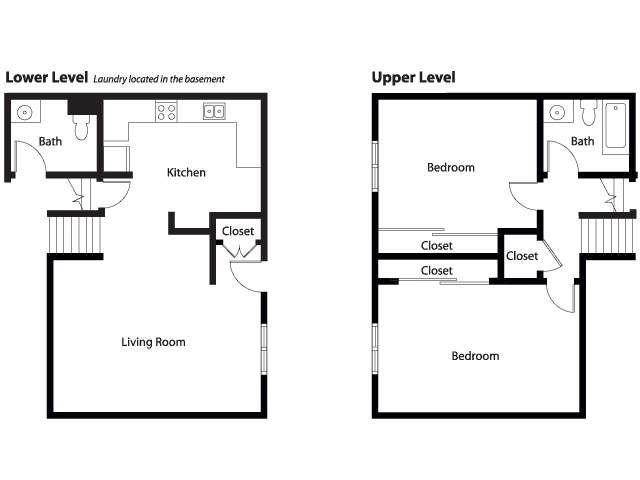 Amazing Two Bedroom House Plans With Basement #8: NS Great Lakes U2013 Forrestal Village Community: Duplex 2 Bedroom Home Floor  Plan.