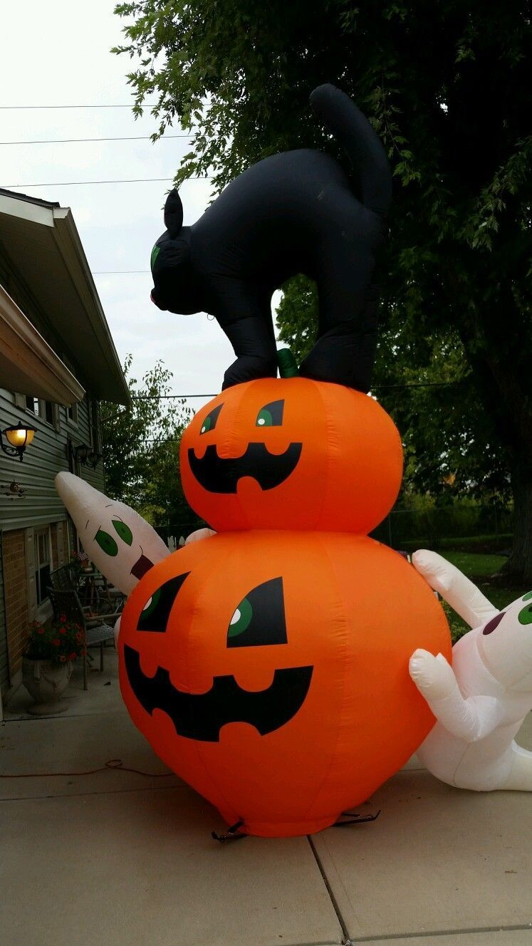Gemmy rare 12 5 39 halloween blk cat pumpkin ghosts for Airblown turkey decoration