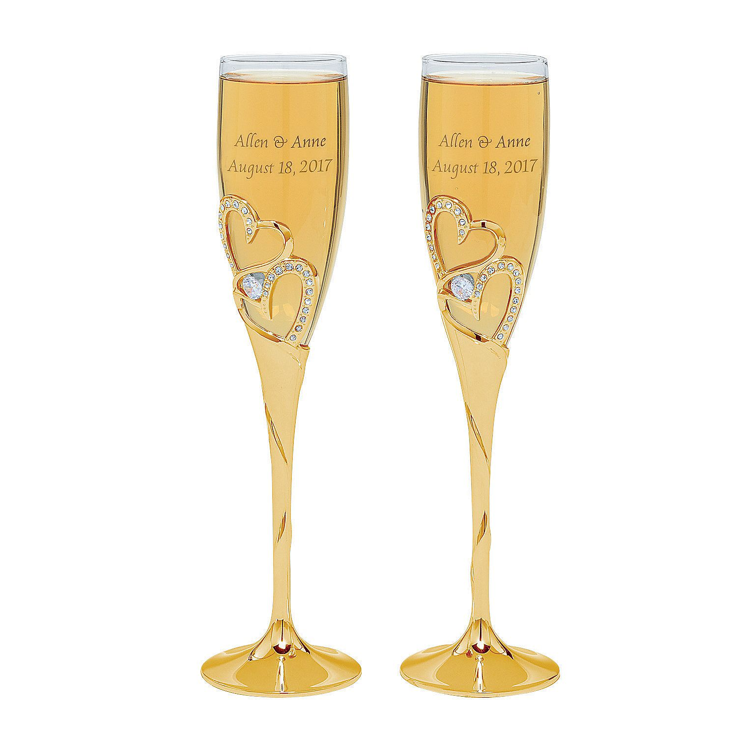 Gold Stacked Heart Personalized Wedding Champagne Flute | Wedding ...