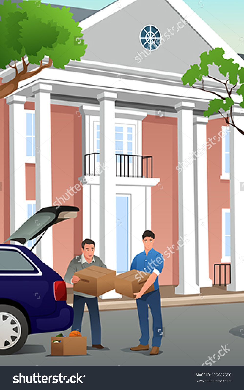 A vector illustration of father helping his teenage son