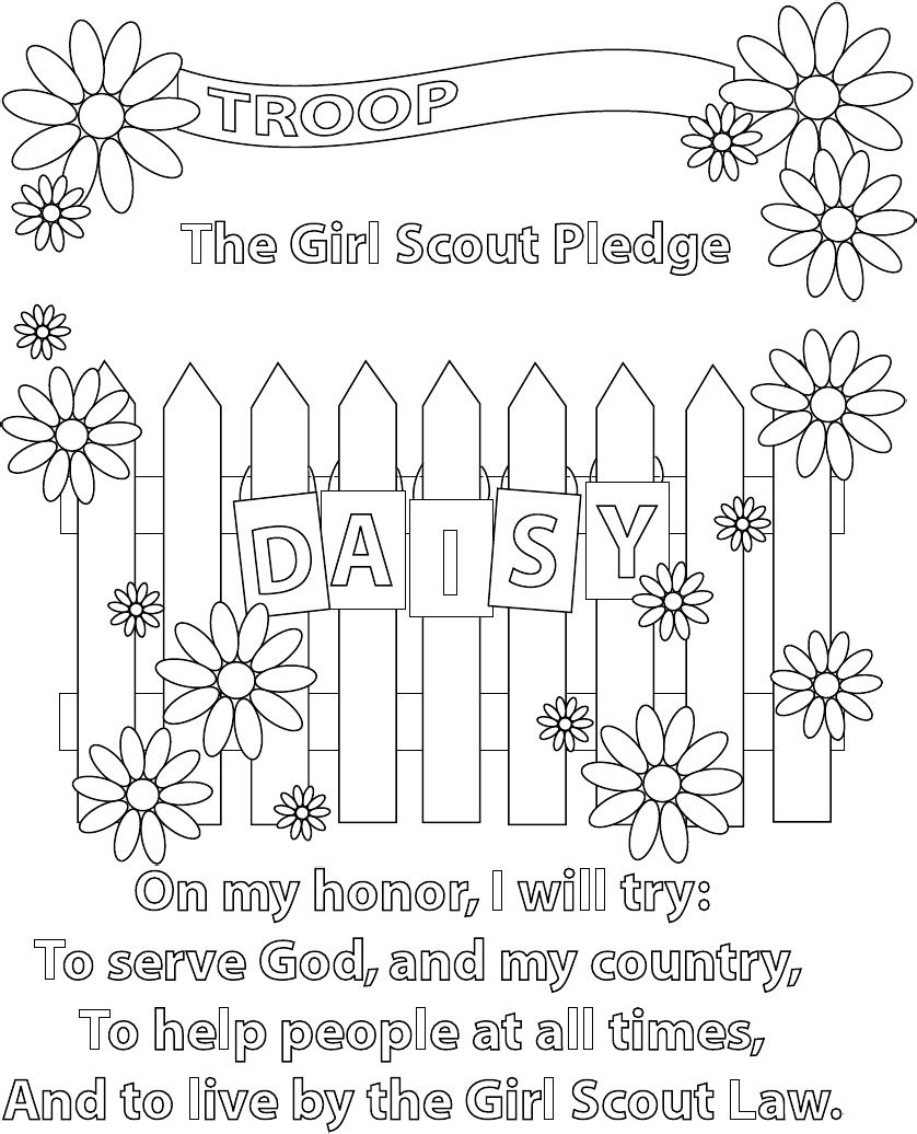 daisy girl scout coloring pages Girl Scout Pledge Coloring Page, good for girls to do last few  daisy girl scout coloring pages