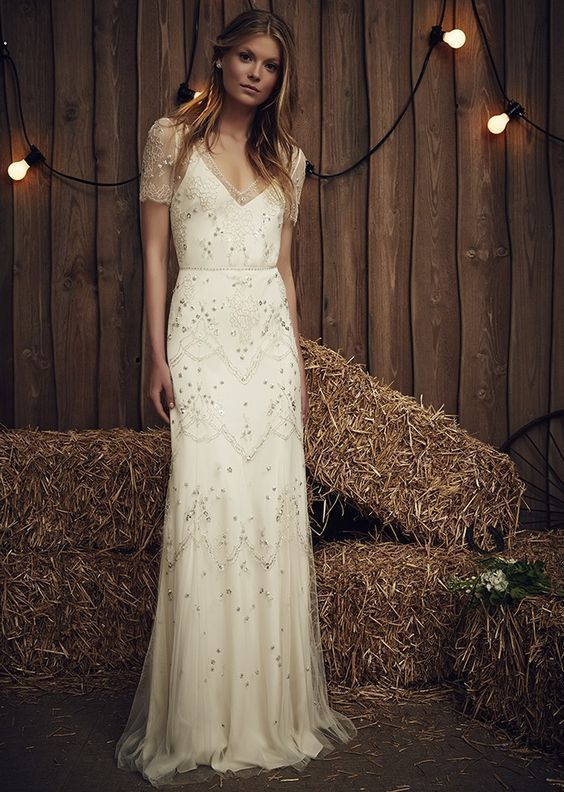 Jenny Packham Ivory White Susanna Beaded Tulle Mesh Wedding Gown