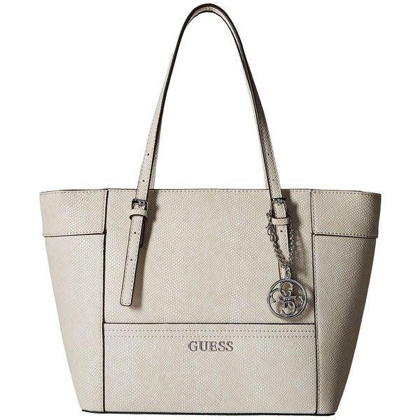 9e1fad29e98d GUESS Delaney Small Classic Tote (Bone) Tote Handbags (2.840 RUB) ❤ liked  on Polyvore featuring bags