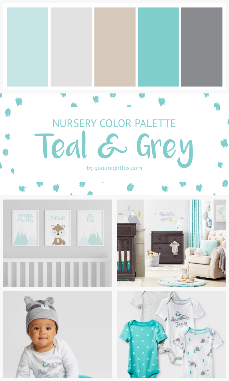 Teal Grey Nursery Color Palette Goodnight Fox Baby Boy