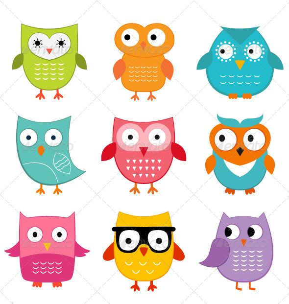 Cute owls set | Clip art, Cartoon owls and The lord