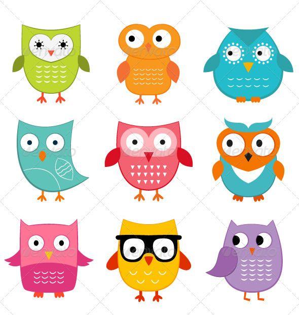 Cute Owls Set Owl Cartoon Owl Vector Owl Illustration
